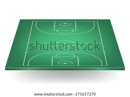 3d green basketball court. Vector EPS10 illustration.  - stock vector