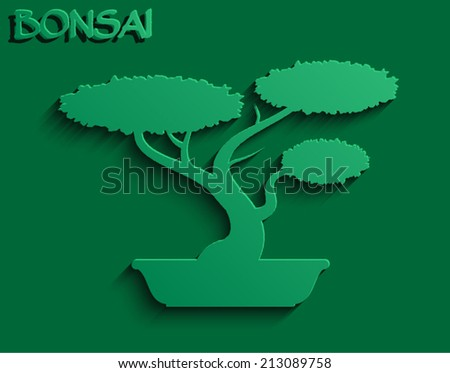 3d green bonsai shape/ vector illustration eps10 - stock vector