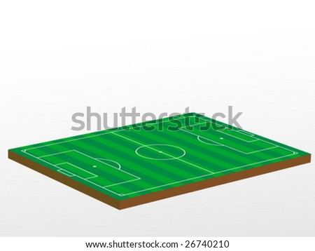 3D green football field. Vector illustration.