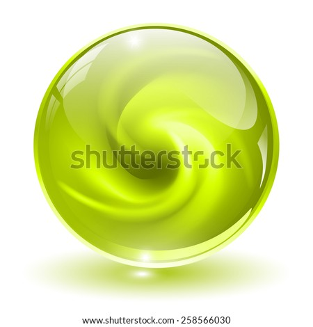 3D green glass sphere, with abstract spiral shape inside. - stock vector