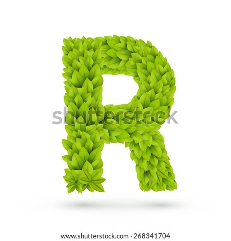 3d green leaves alphabet R isolated on white background - stock vector