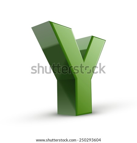 3d green letter Y isolated on white background - stock vector