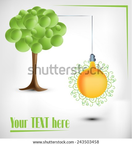 3d green tree with electical pear bulb on bright background - stock vector
