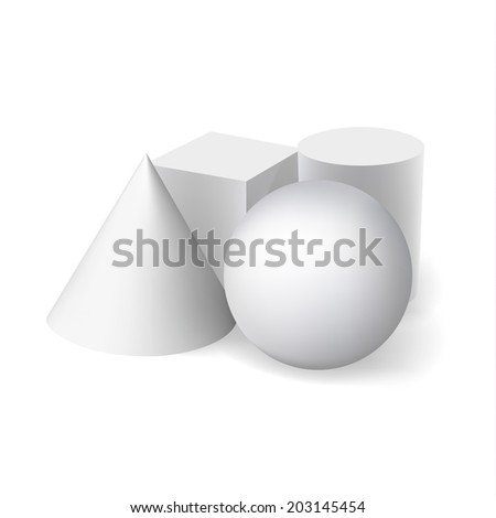 3d grey geometry  on white background - stock vector