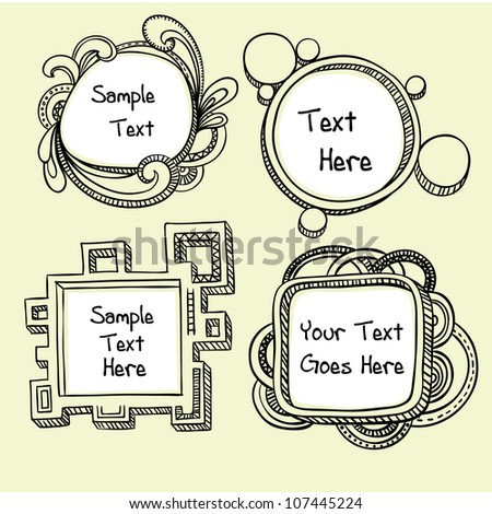 3D hand drawn doodle frames in a messy style. - stock vector