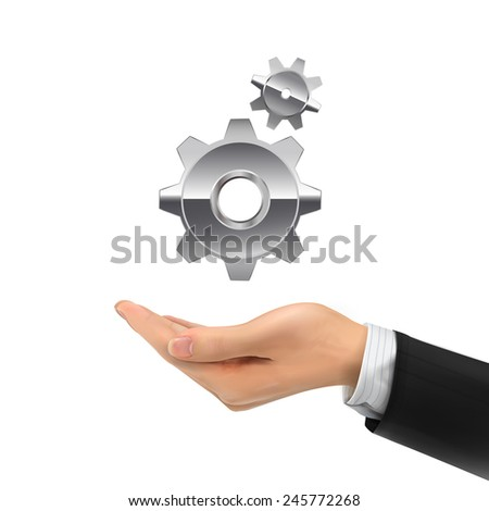 3d hand holding gear symbol over white background - stock vector