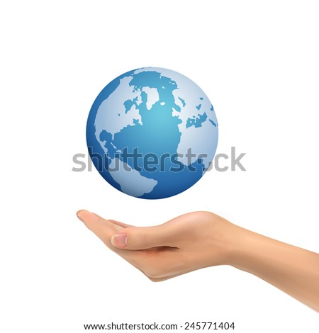 3d hand holding globe symbol over white background