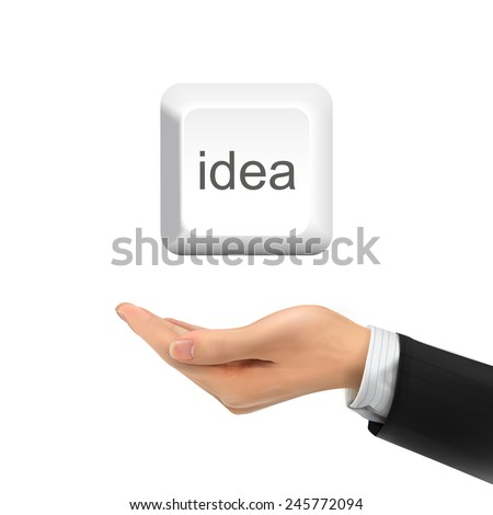 3d hand holding idea keyboard button over white background - stock vector