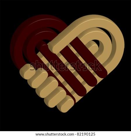 3D hand shake, HEART - stock vector