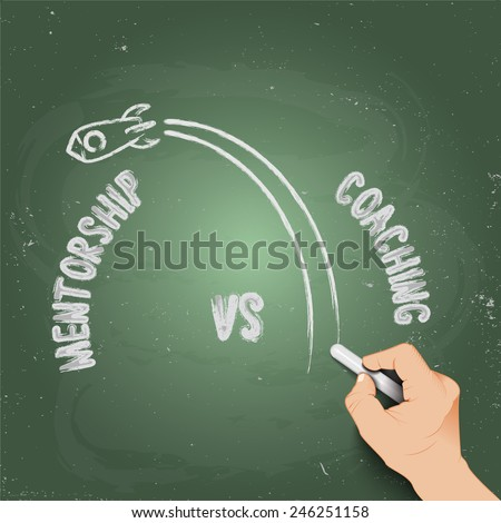 3d hand writing mentorship vs coaching, against the background of blackboard - stock vector