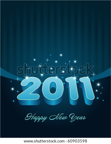 3d happy new year 2011 message vector background - stock vector
