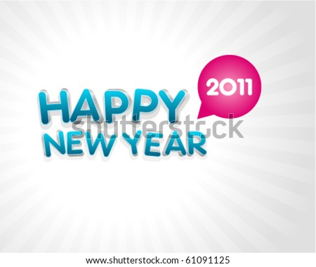 3d happy new year 2011 message vector background. Eps 10 - stock vector