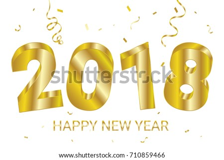 3d happy new year 2018 with golden confetti and ribbon celebration party banner background