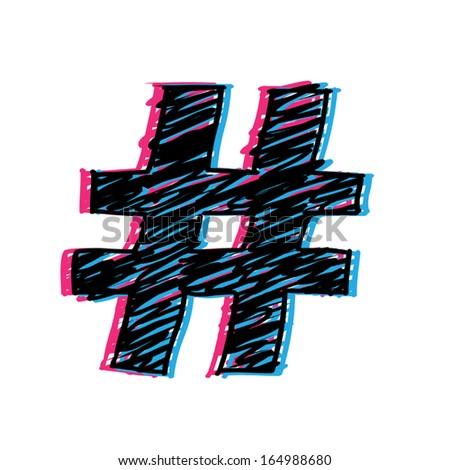 3D Hashtag - stock vector