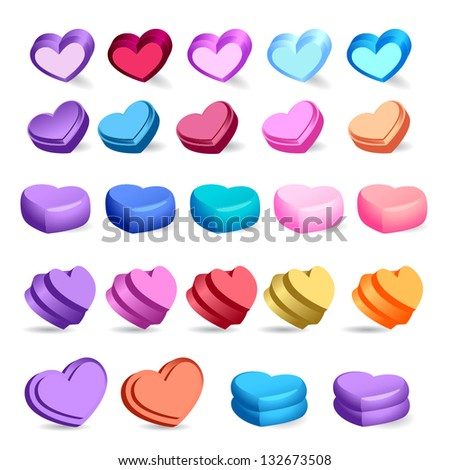 3D Hearts - Abstract - Isolated On White Background - Vector Illustration, Graphic Design Editable For Your Design. Hearts Logo - stock vector