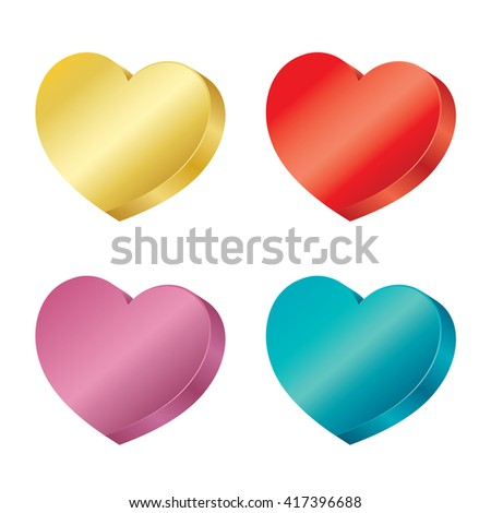 3D hearts collection. vector icon isolated on white background. - stock vector