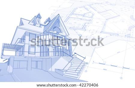 3d house: vector technical draw - stock vector
