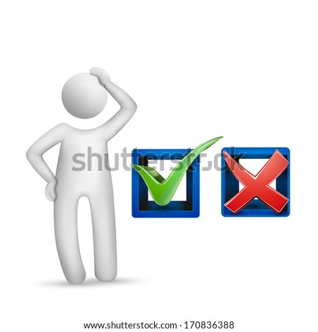 3d human character with check mark symbols isolated on white background - stock vector