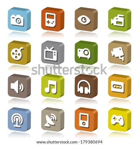 3d icon collection - stock vector