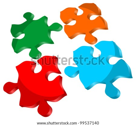 3d icon isolated jigsaw puzzle - stock vector