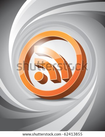 3D Icon of RSS with Abstract Background - stock vector