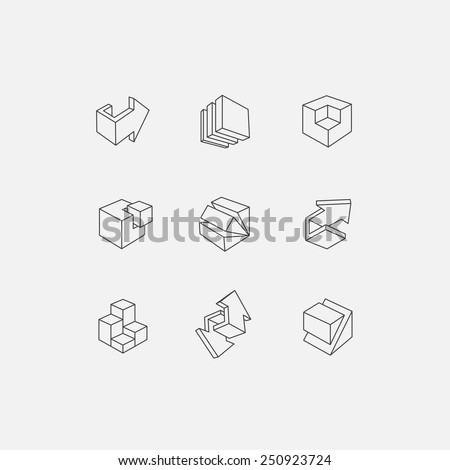 3d icon set. Vector illustration of abstract arrows and cubes, low poly style. Design element for banner, poster, flyer, cover, brochure. Polygonal geometric figures. Logo design. - stock vector