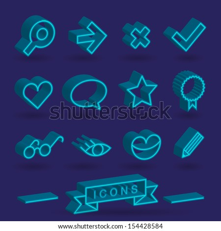 3 D icons - stock vector