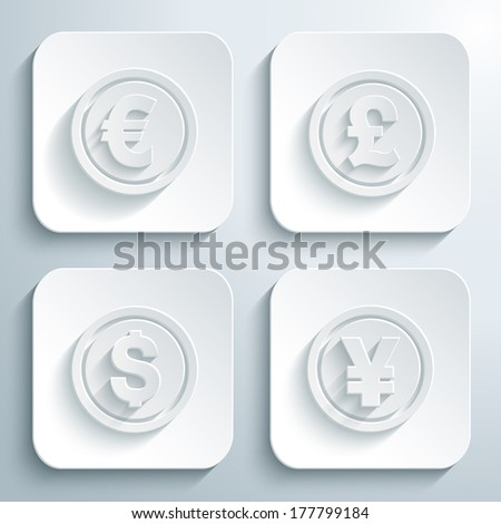 3D icons set - coin dollar, euro, pound, yen or yuan. White app buttons. Eps10 - stock vector