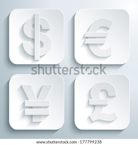 3D icons set - symbol dollar, euro, pound, yen or yuan. White app buttons. Eps10 - stock vector