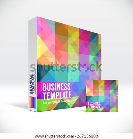 3D Identity packaging box with abstract colorful pattern - stock vector