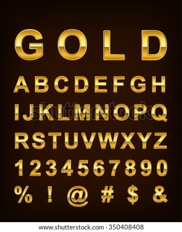 3d illuatration of golden metallic shiny letters isolated on   gradient brown background.