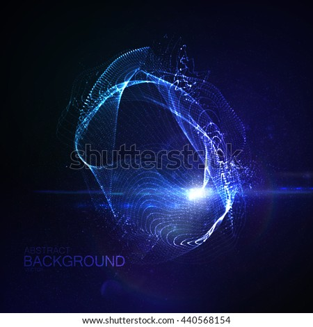 3D illuminated abstract digital neon splash of glowing particles and Flare lens light effect. Futuristic vector illustration.  - stock vector