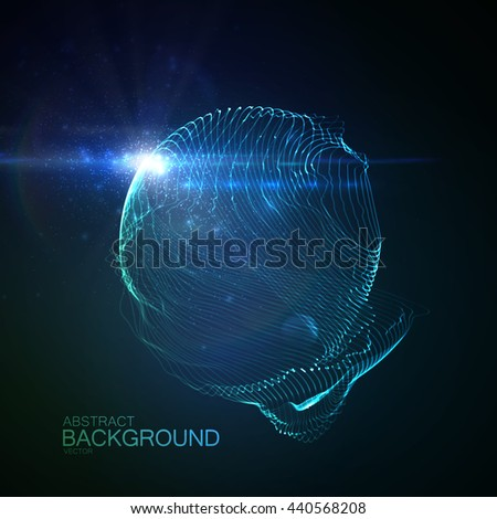 3D illuminated abstract digital neon splash of glowing particles and Flare lens light effect. Vector illustration of particles. - stock vector