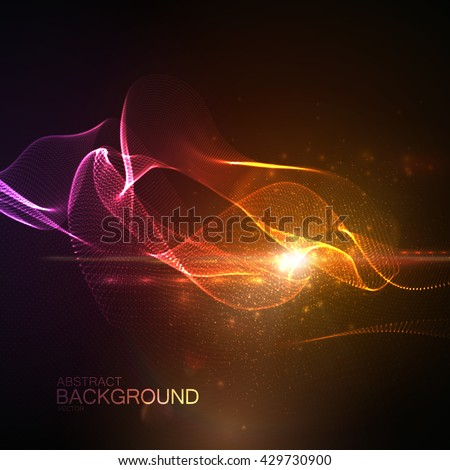 3D illuminated abstract digital wave of glowing particles and Flare lens light effect. Futuristic vector illustration of particles. Technology concept of radio or sound wave. Abstract background - stock vector