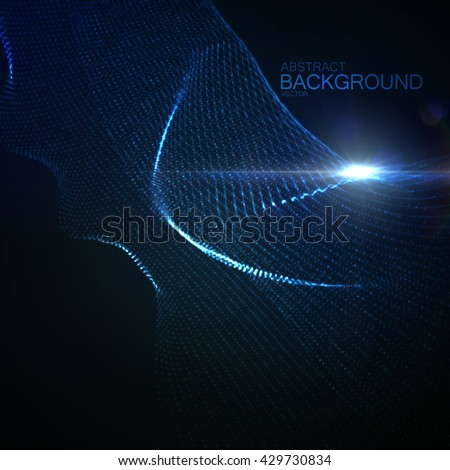 3D illuminated abstract digital wave of glowing particles and wireframe. Neon Sign. Futuristic vector illustration. HUD element. Technology concept. Abstract background - stock vector