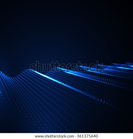 3D illuminated abstract digital wave of glowing particles. Futuristic vector illustration. HUD element. Technology concept. Abstract background - stock vector