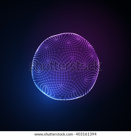 3D illuminated neon sphere of glowing particles. Futuristic vector illustration. HUD element. Technology concept. Nano or microbiology vector. Pharmacy concept - stock vector