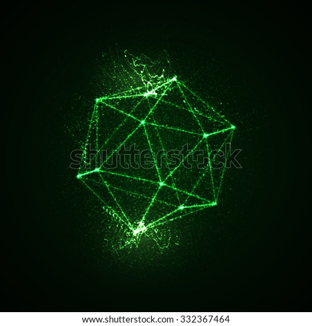 3D illuminated platonic shape of glowing particles and laser wireframe. Futuristic vector illustration. HUD element. Sacred geometry  - stock vector