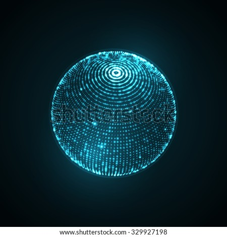 3D illuminated sphere of glowing particles and wireframe. Futuristic vector illustration. HUD element. Technology concept