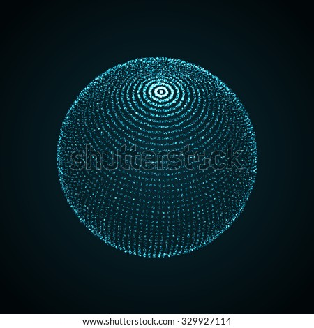 3D illuminated sphere of glowing particles. Futuristic vector illustration. HUD element. Technology concept - stock vector