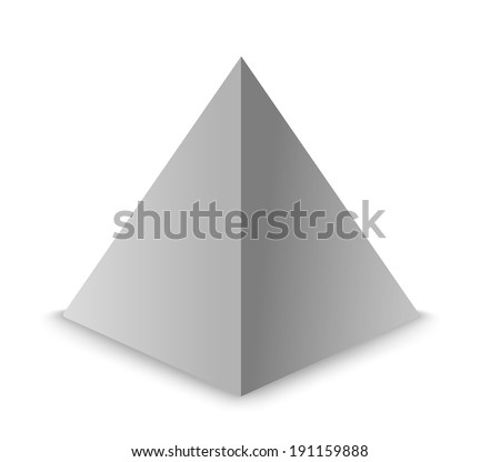 3d illustration basic geometric shapes. Pyramid - stock vector