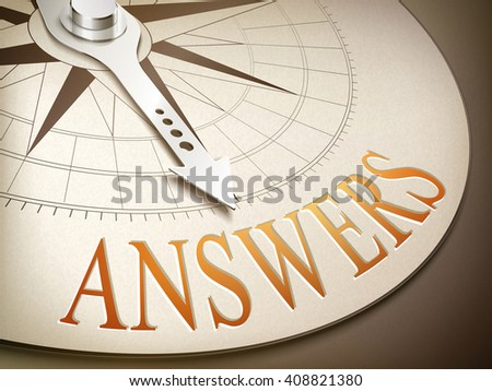 3d illustration compass needle pointing the word answers - stock vector
