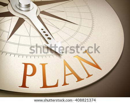3d illustration compass needle pointing the word plan - stock vector