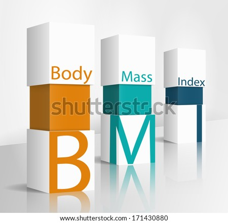 3d illustration concept: Body Mass Index (BMI) - stock vector