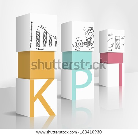 3d illustration concept: KPI - stock vector