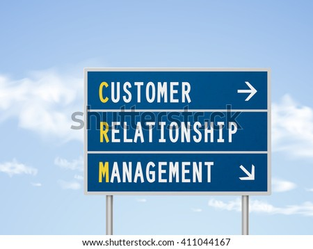 3d illustration customer relationship management road sign isolated on blue sky