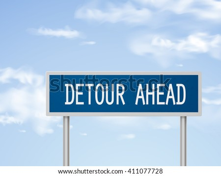 3d illustration detour ahead road sign isolated on blue sky