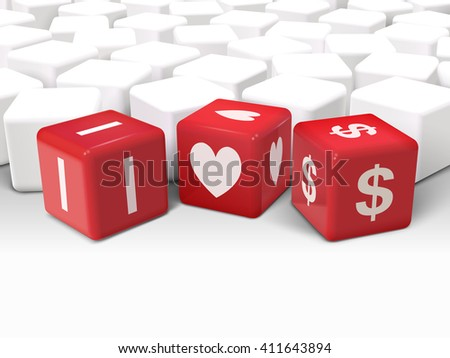 3d illustration dice with word I love dollars on white background - stock vector