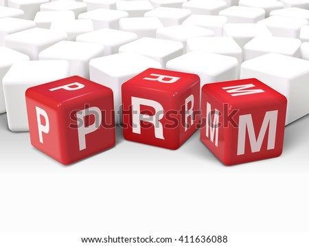 3d illustration dice with word PRM partner relationship management on white background