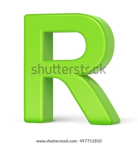 3d illustration light green letter R isolated white background